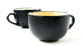 Two Black Cups Stock Photo