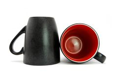 Two Black Cups Isolated Stock Photo