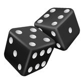 Two black dice. Vector illustration of two black dice Royalty Free Stock Photo
