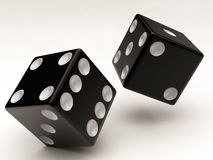 Two black dices falling Stock Photos