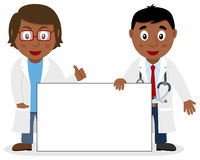 Two Black Doctors with Blank Banner Stock Images