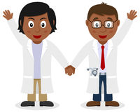 Two Black Doctors Smiling and Greeting Royalty Free Stock Photography