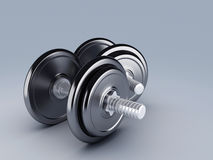 Two black dumbbells for fitness Stock Photo