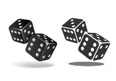 Two black falling dice isolated on white. Casino gambling template concept. Vector illustration Stock Images
