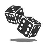 Two black falling dice isolated on white. Casino gambling template concept. Vector illustration Stock Photos
