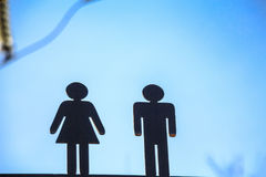 Two black figures toilet sign Royalty Free Stock Photos