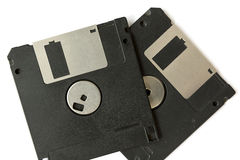 Two black floppy disks. Isolated on a white background Royalty Free Stock Photography