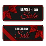 Two black friday sale banners  on white. Two black friday sale banners. Gift card, brochure or poster templates with red ribbon and bow. Vector illustration Royalty Free Stock Photography