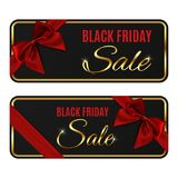 Two black friday sale banners isolated on white. Two black friday sale banners isolated on white background. Gift card templates with red ribbon and bow. Vector Royalty Free Stock Photo