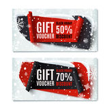 Two, Black Friday, winter gift vouchers. Stock Photography