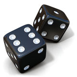 Two black game dices isolated Stock Image