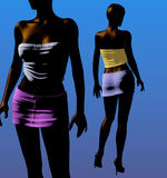 Two black girls in mini skirts - 3D illustration. Two beautiful black girls on a blue background, wearing mini skirts and high heels, 3D illustration Royalty Free Stock Photos