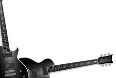 Two black guitars isolated on white Stock Photo