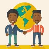Two black guys happily handshaking Stock Image
