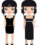 Two Black Haired Female Paper Royalty Free Stock Image