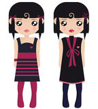Two Black Haired Female Paper Dolls. In Black And Pink Dresses And Tights Stock Image