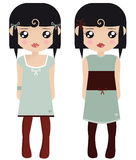 Two Black Haired Female Paper Dolls Royalty Free Stock Image