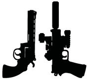 Two black heavy handguns Royalty Free Stock Images