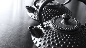 Two Black Japanese Iron Kettles Royalty Free Stock Photo
