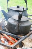 Two black kettle royalty free stock image