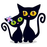 Two Black kittens. On a white background royalty free illustration