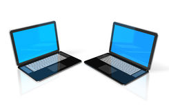 Two black Laptop computers isolated on white. Two 3D black laptop computers isolated on white Royalty Free Stock Photo