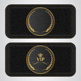 Two black leather VIP horizontal banner with a gold label. Vector Royalty Free Stock Photos