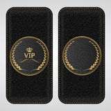 Two black leather VIP vertical banner with a gold label. Vector Stock Photo