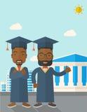 Two black men wearing graduation cap Stock Photos
