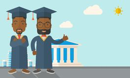 Two black men wearing graduation cap Royalty Free Stock Photo