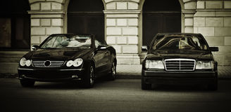 Two black Mercedes Royalty Free Stock Image