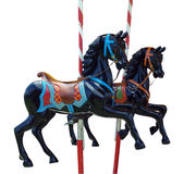 Two Black Merry-Go-Round Horses Stock Photos