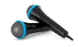 Two Black Microphones Stock Images
