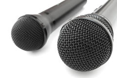 Two black microphones Royalty Free Stock Photography