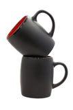 Two black mugs Royalty Free Stock Image