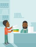 Two black office clerk inside the office Royalty Free Stock Photo