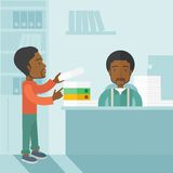 Two black office clerk inside the office Stock Photography