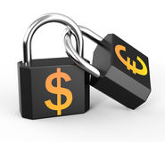 Two black padlocks Stock Photos
