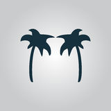 Two Black palm trees silhouette isolated Royalty Free Stock Photos