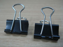 Two Black Paper clip Royalty Free Stock Photos