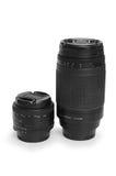 Two black photo lenses isolated Stock Image