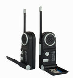 Two black Portable radio sets. Isolated on white Royalty Free Stock Image