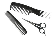 Two black professional combs and scissors. Stock Photo