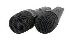 Two Black Radiomicrophones Stock Photo