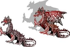 Two  black and red dragons Royalty Free Stock Photography