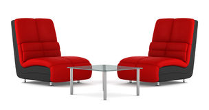 Two black and red modern leather armchairs Royalty Free Stock Images