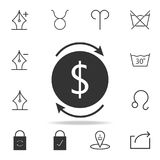 Two black round arrows with money icon. Detailed set of web icons and signs. Premium graphic design. One of the collection icons f. Or websites, web design Stock Images