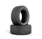Two black rubber tires Stock Images