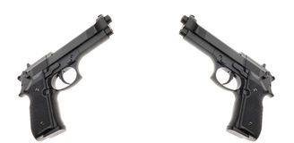 Two Black semi automatic handguns Royalty Free Stock Photography