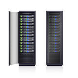 Two Black Server Racks Realistic Illustration Stock Photos